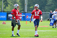 June 13, 2017: New England Patriots quarterback Tom Brady (12) talks to quarterback Jacoby Brissett (7) at the New England Patriots organized team activity held on the practice field at Gillette Stadium, in Foxborough, Massachusetts. Eric Canha/CSM
