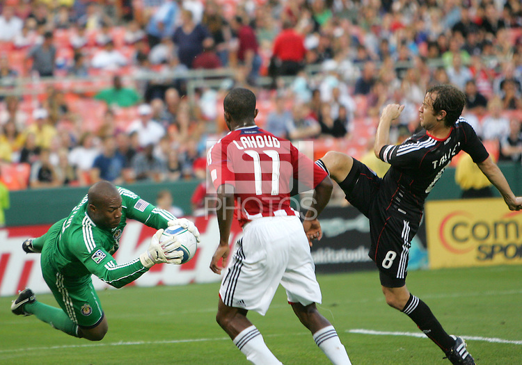 Carey Talley #8 of D.C. United has his shot stopped by Zach Thornton #22 of Chivas USA during an MLS match at RFK Stadium, on May 29 2010 in Washington DC. United won 3-2.