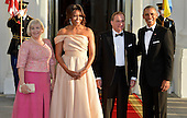 U.S. President Barack Obama (R) and First Lady Michelle Obama (2nd,L) welcome Sweden's Prime Minister Stefan Lofven (2nd,R) and his spouse Ulla Lofven, for a State Dinner of Nordic leaders, at the White House, May 13, 2016, in Washington, DC.     <br /> Credit: Mike Theiler / Pool via CNP