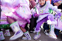 Members of the Fi Yi Yi Mardi Gras Indians dance in the Treme neighborhood of New Orleans on Mardi Gras day, February 16, 2010.