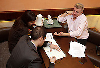 Michael O'Leary, amministratore delegato della compagnia aerea low-cost irlandese Ryanair, a destra, rilascia un'intervista prima di tenere una conferenza stampa a Roma, 22 gennaio 2013..Irish low-cost air company Ryanair's CEO Michael O'Leary, right, release an interview before to attend a press conference in Rome, 22 January 2013..UPDATE IMAGES PRESS/Riccardo De Luca