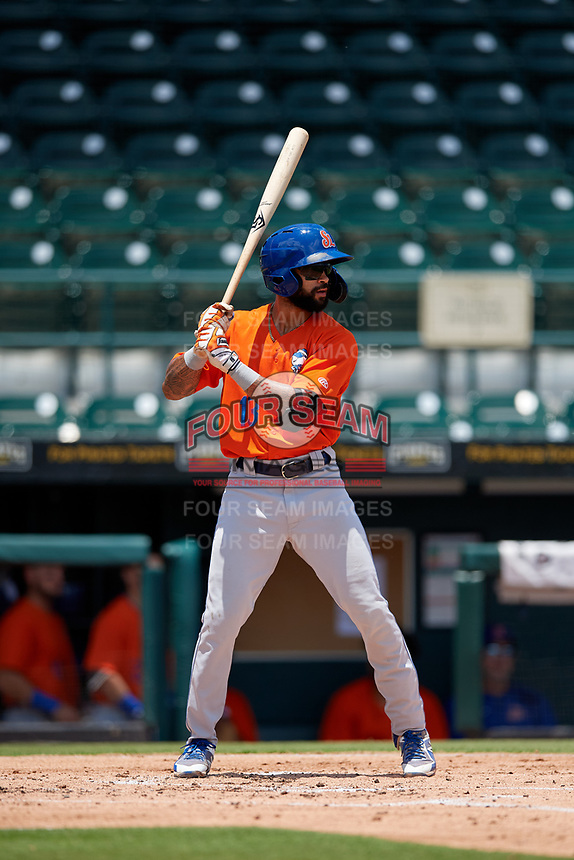 St. Lucie Mets Manny Rodriguez (13) bats during a Florida State League game against the Bradenton Marauders on July 28, 2019 at LECOM Park in Bradenton, Florida.  Bradenton defeated St. Lucie 7-3.  (Mike Janes/Four Seam Images)