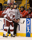 Brian McCafferty (Harvard - 20) - The Northeastern University Huskies defeated the Harvard University Crimson 3-1 in the Beanpot consolation game on Monday, February 12, 2007, at TD Banknorth Garden in Boston, Massachusetts.