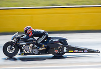 Oct 16, 2016; Ennis, TX, USA; NHRA pro stock motorcycle rider Eddie Krawiec during the Fall Nationals at Texas Motorplex. Mandatory Credit: Mark J. Rebilas-USA TODAY Sports