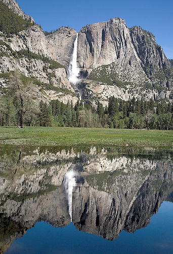 YOSEMITE FALLS IS REFLECTED IN AN OVERFLOW POND OF THE MERCED RIVER DURING THE SPRING SNOWMELT IN YOSEMITE NATIONAL PARK, CALIFORNIA