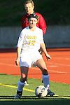 Manhattan Beach, CA 01/21/10 - Mandy McKeegan (Mira Costa #12)  in action during the Mira Costa vs Peninsula Bay League soccer game at Mira Costa.  Peninsula defeated Mira Costa 2-0.