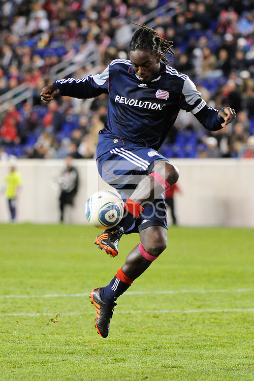 Shalrie Joseph (21) of the New England Revolution. The New York Red Bulls defeated the New England Revolution 2-0 during a Major League Soccer (MLS) match at Red Bull Arena in Harrison, NJ, on October 21, 2010.