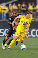24 OCTOBER 2010:  Philadelphia Union forward Alejandro Moreno (15) and Columbus Crew midfielder/forward Robbie Rogers (18) during MLS soccer game at Crew Stadium in Columbus, Ohio on August 28, 2010.