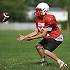 East Islip No. 32 Justin Motsiff gets in position to catch a kickoff during football practice at the high school on Wednesday, August 19, 2015.