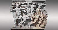 """Close up of a end of a Roman relief sculpted Hercules sarcophagus with kline couch lid, """"Columned Sarcophagi of Asia Minor"""" style typical of Sidamara, 250-260 AD, Konya Archaeological Museum, Turkey. Against a grey background"""