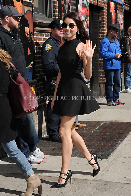 WWW.ACEPIXS.COM <br /> March 24, 2015 New York City<br /> <br /> Aubrey Plaza arrives to tape an appearance on the Late Show with David Letterman on March 24, 2015 in New York City.<br /> <br /> Please byline: Kristin Callahan/ACE Pictures  <br /> <br /> ACEPIXS.COM<br /> Ace Pictures, Inc<br /> tel: (212) 243 8787 or (646) 769 0430<br /> e-mail: info@acepixs.com<br /> web: http://www.acepixs.com