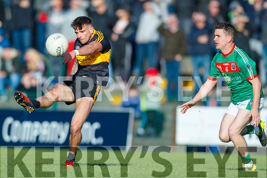 Micheal Burns  Dr Crokes in action against Martin McMahon Kilmurry Ibrickane in the Munster Senior Club Championship Semi Final at Lewis Road, Killarney on Sunday.