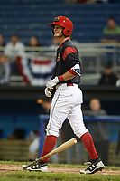 Batavia Muckdogs shortstop Micah Brown (55) tosses his bat after being hit by a pitch during a game against the West Virginia Black Bears on June 26, 2017 at Dwyer Stadium in Batavia, New York.  Batavia defeated West Virginia 1-0 in ten innings.  (Mike Janes/Four Seam Images)