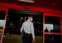 HAVANA, CUBA - March 12:  A police wears face mask outside of  the International airport José Martí in Havana, Cuba, Thursday, March 12, 2020,  The World Health Organization declared a global pandemic as the coronavirus rapidly spreads across the world.(Photo by Eliana Aponte/VIEWpress)