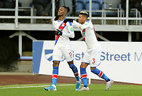Crystal Palace's Wilfried Zaha (left) celebrates with team-mate Patrick van Aanholt after scoring the opening goal <br /> <br /> Photographer Rich Linley/CameraSport<br /> <br /> The Premier League - Burnley v Crystal Palace - Saturday 30th November 2019 - Turf Moor - Burnley<br /> <br /> World Copyright © 2019 CameraSport. All rights reserved. 43 Linden Ave. Countesthorpe. Leicester. England. LE8 5PG - Tel: +44 (0) 116 277 4147 - admin@camerasport.com - www.camerasport.com