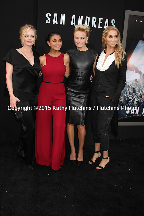"LOS ANGELES - MAY 26:  Marley Shelton, Emmanuelle Chriqui, Malin Akerman, Elizabeth Berkley at the ""San Andreas"" World Premiere at the TCL Chinese Theater IMAX on May 26, 2015 in Los Angeles, CA"