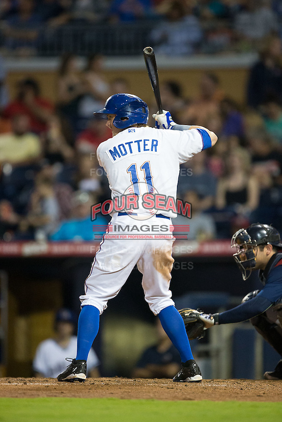 Taylor Motter (11) of the Durham Bulls at bat against the Scranton/Wilkes-Barre RailRiders at Durham Bulls Athletic Park on May 15, 2015 in Durham, North Carolina.  The RailRiders defeated the Bulls 8-4 in 11 innings.  (Brian Westerholt/Four Seam Images)