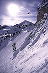 A picture of a skier jumping off a cliff at Alta, Utah.