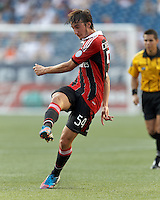 AC Milan substitute midfielder Bryan Cristante (54) takes a shot. In an international friendly, AC Milan defeated C.D. Olimpia, 3-1, at Gillette Stadium on August 4, 2012.