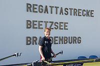 Brandenburg. GERMANY. GBR Coach, Jane HALL.<br /> 2016 European Rowing Championships at the Regattastrecke Beetzsee<br /> <br /> Saturday  07/05/2016<br /> <br /> [Mandatory Credit; Peter SPURRIER/Intersport-images]