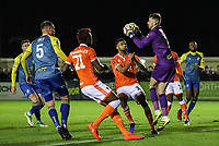 Solihull Moors' goalkeeper Ryan Boot saves under pressure from Blackpool's Curtis Tilt<br /> <br /> Photographer Andrew Kearns/CameraSport<br /> <br /> The Emirates FA Cup Second Round - Solihull Moors v Blackpool - Friday 30th November 2018 - Damson Park - Solihull<br />  <br /> World Copyright © 2018 CameraSport. All rights reserved. 43 Linden Ave. Countesthorpe. Leicester. England. LE8 5PG - Tel: +44 (0) 116 277 4147 - admin@camerasport.com - www.camerasport.com