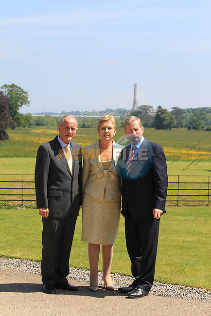 Enda Kenny and Mary McAleese and Dr. Martin McAleese<br /> at the renaming of the Mary McAleese Boyne Valley bridge at Oldbridge house<br /> Picture:  Fran Caffrey / www.newsfile.ie