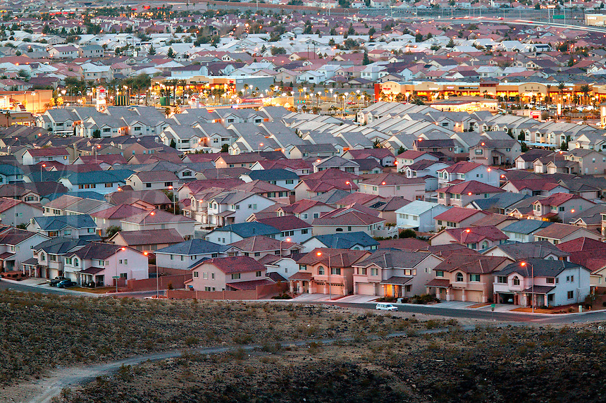 The edge of the urban sprawl, Las Vegas, Nevada.