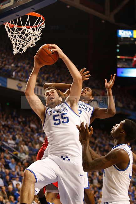 Josh Harrellson took a shot during the game against Boston University on Tuesday, November 30, 2010 at Rupp Arena.  Photo by Latara Appleby | Staff