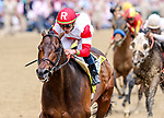 LOUISVILLE, KY - MAY 04: Backyard Heaven #4, ridden by Irad Ortiz, Jr., wins the Alysheba Stakes during an undercard race on Kentucky Oaks Day at Churchill Downs on May 4, 2018 in Louisville, Kentucky. (Photo by Candice Chavez/Eclipse Sportswire/Getty Images)