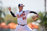 Baltimore Orioles relief pitcher Tanner Chleborad (92) delivers a pitch during a Grapefruit League Spring Training game against the Tampa Bay Rays on March 1, 2019 at Ed Smith Stadium in Sarasota, Florida.  Rays defeated the Orioles 10-5.  (Mike Janes/Four Seam Images)