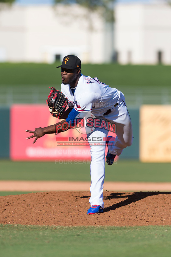 Surprise Saguaros relief pitcher C.D. Pelham (24), of the Texas Rangers organization, follows through on his delivery during an Arizona Fall League game against the Peoria Javelinas at Surprise Stadium on October 17, 2018 in Surprise, Arizona. (Zachary Lucy/Four Seam Images)