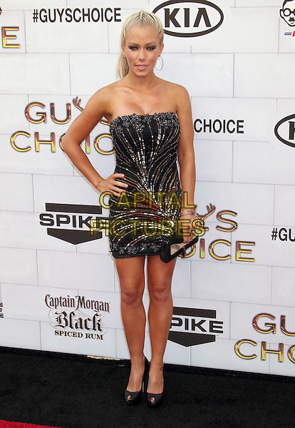 Kendra Wilkinson.Spike TV's 6th Annual 'Guys Choice' Awards held at Sony Pictures Studios, Culver City, California, USA..2nd June 2012 .full length black gold strapless sequins sequined dress hand on hip clutch bag.CAP/ADM/RE.©Russ Elliot/AdMedia/Capital Pictures.