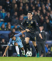 Tomas Rogic of Celtic leaves Gael Clichy of Manchester City during the UEFA Champions League GROUP match between Manchester City and Celtic at the Etihad Stadium, Manchester, England on 6 December 2016. Photo by Andy Rowland.