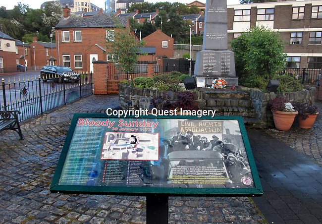 The Bloody Sunday Memorial on Rossville street in  The Bogside, a neighborhood outside the city walls of Derry, Northern Ireland.  The area has been a focus point for many of the events of &quot;The Troubles&quot;, from the Battle of the Bogside and Bloody Sunday in the 1960s and 1970s.<br />