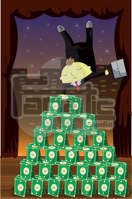 Businessman balancing upside down on pyramid of money