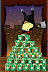 Businessman balancing upside down on pyramid of money