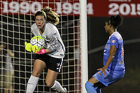 Piscataway, NJ - Saturday Aug. 27, 2016: Alyssa Naeher, Samantha Johnson during a regular season National Women's Soccer League (NWSL) match between Sky Blue FC and the Chicago Red Stars at Yurcak Field.
