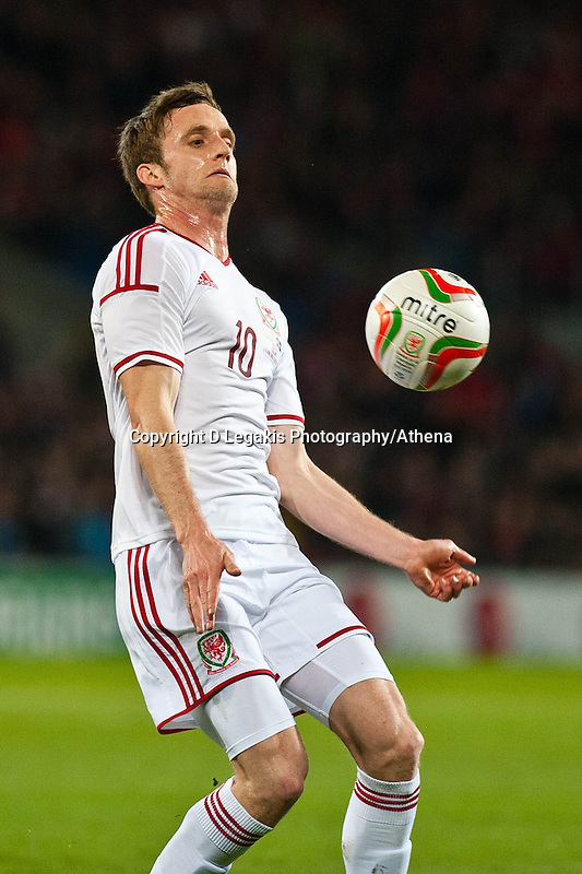 Wednesday 05 March 2014<br /> Pictured:Andy King tries to control the ball <br /> Re: International friendly Wales v Iceland at the Cardiff City Stadium, Cardiff,Wales UK