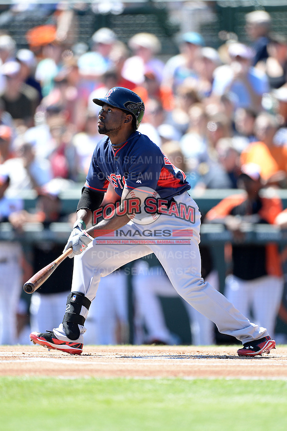 Boston Red Sox outfielder Jackie Bradley Jr. (25) during a spring training game against the Baltimore Orioles on March 8, 2014 at Ed Smith Stadium in Sarasota, Florida.  Baltimore defeated Boston 7-3.  (Mike Janes/Four Seam Images)