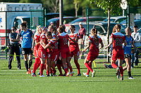 Kansas City, MO - Saturday May 27, 2017: celebrate, celebration, Whitney Church, Meggie Dougherty Howard, Kristie Mewis, Mallory Pugh, Estelle Johnson, Shelina Zadorsky, Alyssa Kleiner during a regular season National Women's Soccer League (NWSL) match between FC Kansas City and the Washington Spirit at Children's Mercy Victory Field.