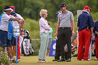 Peggy Nelson, wife of Byron Nelson has a nice chat with Jimmy Walker (USA) on the first tee before round 4 of the AT&T Byron Nelson, Trinity Forest Golf Club, at Dallas, Texas, USA. 5/20/2018.<br /> Picture: Golffile | Ken Murray<br /> <br /> All photo usage must carry mandatory copyright credit (© Golffile | Ken Murray)