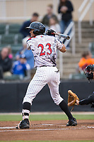 Joel Booker (23) of the Kannapolis Intimidators at bat against the Asheville Tourists at Kannapolis Intimidators Stadium on May 5, 2017 in Kannapolis, North Carolina.  The Tourists defeated the Intimidators 5-1.  (Brian Westerholt/Four Seam Images)