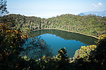 Chicabal Lake (Laguna Chicabal), formed in the crater of Volcan Chicabal at 2712m, is located in department of Quetzaltenango in Guatemala.  Surrounded by a cloud forrest, the lake is sacred to the Mam Mayan people.