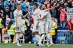 Real Madrid's players celebrate goal during La Liga match between Real Madrid and Athletic Club de Bilbao at Santiago Bernabeu Stadium in Madrid, Spain. April 21, 2019. (ALTERPHOTOS/A. Perez Meca)