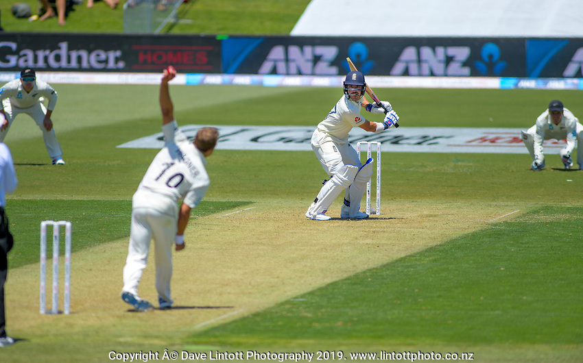 NZ's Neil Wagner bowls to England's Rory Burns during day one of the international cricket 1st test match between NZ Black Caps and England at Bay Oval in Mount Maunganui, New Zealand on Thursday, 21 November 2019. Photo: Dave Lintott / lintottphoto.co.nz