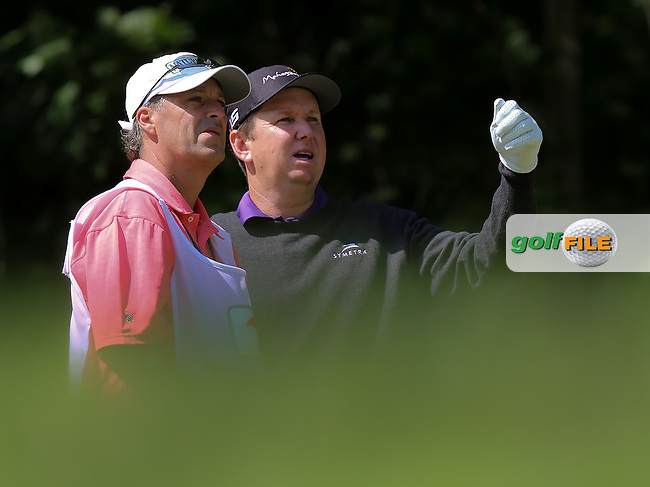26 JUN 15 Former PGA Tour pro Pete Jordan with JJ Henry during Friday's Second Round at The Travelers Championship at TPC River Highlands in Cromwell,Conn.(photo credit : kenneth e. dennis/kendennisphoto.com)