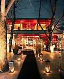 AUSTRIA, Vienna, Stadtpark, illuminated Steirereck Restaurant at dusk
