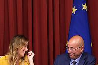 Maria elena Boschi e Aldo Cazzullo<br /> Roma 20-09-2016 Camera, Presentazione del libro 'Le donne erediteranno la terra'.<br /> Rome 20th September 2016. Presentation of the book: 'women will inherit the world'.<br /> Photo Samantha Zucchi Insidefoto
