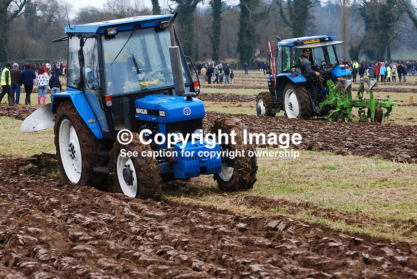 Tractor class competition. Taken 28 February 2009 at 95th annual ploughing match of Mullahead & District Ploughing Society, Co Down, N Ireland, UK, 200902281956..Copyright Image from Victor Patterson, 54 Dorchester Park, Belfast, UK, BT9 6RJ..Tel: +44 28 9066 1296.Mob: +44 7802 353836.Voicemail +44 20 8816 7153.Skype: victorpattersonbelfast.Email: victorpatterson@mac.com.Email: victorpatterson@ireland.com (back-up)..IMPORTANT: If you wish to use this image or any other of my images please go to www.victorpatterson.com and click on the Terms & Conditions. Then contact me by email or phone with the reference number(s) of the image(s) concerned.