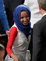 United States Representative Ilhan Omar (Democrat of Minnesota) on the floor prior to US President Donald J. Trump delivers his second annual State of the Union Address to a joint session of the US Congress in the US Capitol in Washington, DC on Tuesday, February 5, 2019. Photo Credit: Alex Edelman/CNP/AdMedia